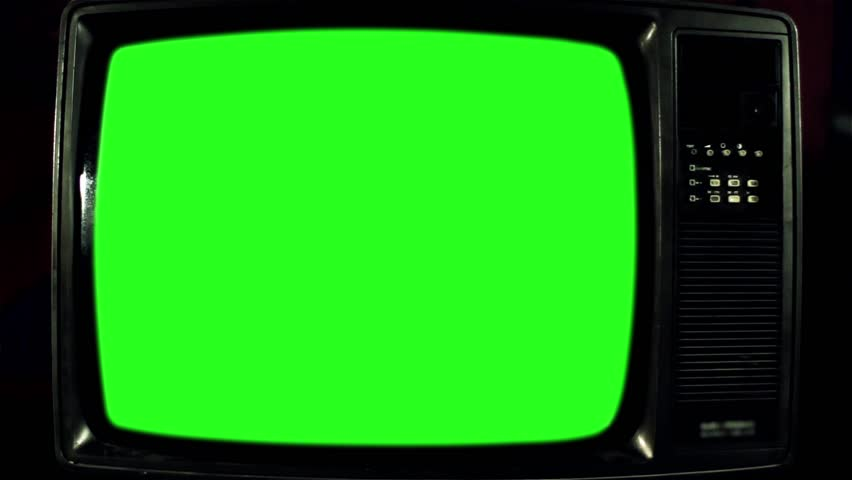 Old Television with Green Screen. Iron Tone. Ready to Replace Green     Shutterstock HD Video #1017941587