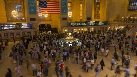 New York, USA - September 6, 2018: Passengers moving at Grand Central time lapse