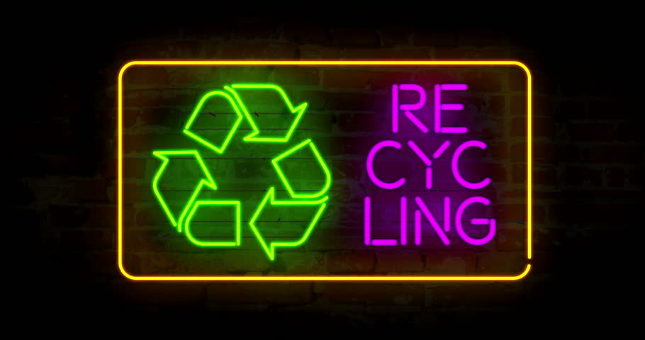 Recycling symbol in neon light stylizing animation. Abstract concept with ecology symbol and text. | Shutterstock HD Video #1017963187