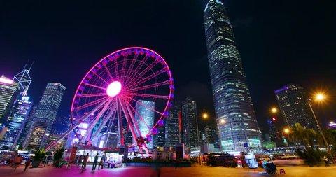 Central, Hong Kong, 14 October 2018:- Hong Kong downtown city at night