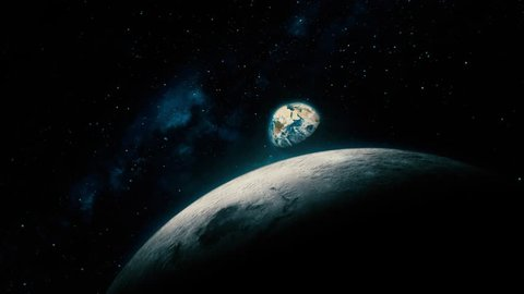Space View From Earth To Moon, Reveal Shot. Beautiful, cinematic 3D animation of Mother Earth and the Moon, with part of the galactic center in the background.