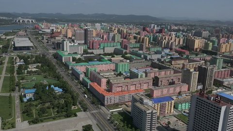 North Korea capital city Pyongyang skyline, Panorama as seen from the Juche Tower in September 2018