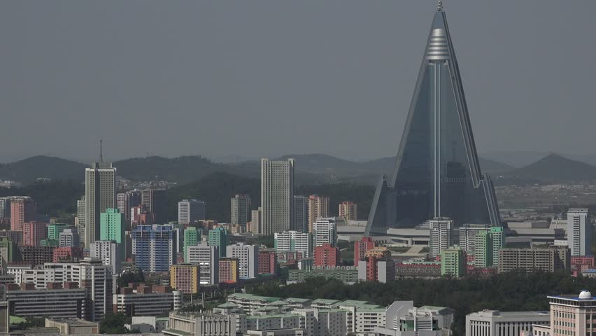 North Korea capital city Pyongyang skyline, Panorama as seen from the Juche Tower in September 2018,Ryugyong Hotel,  | Shutterstock HD Video #1018044037