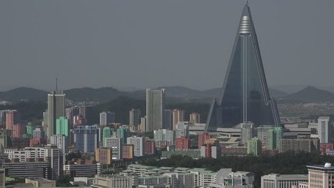 North Korea capital city Pyongyang skyline, Panorama as seen from the Juche Tower in September 2018,Ryugyong Hotel,