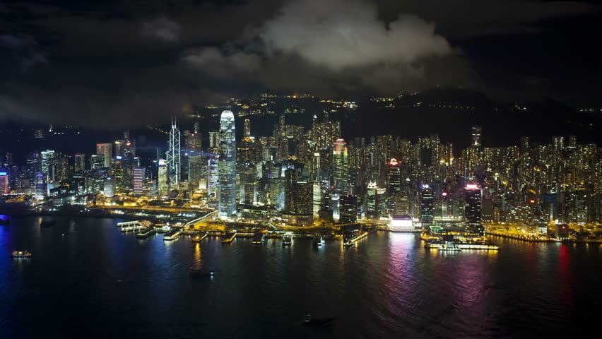 Aerial view over hong kong island looking towards victoria peak showing | Shutterstock HD Video #1018046167