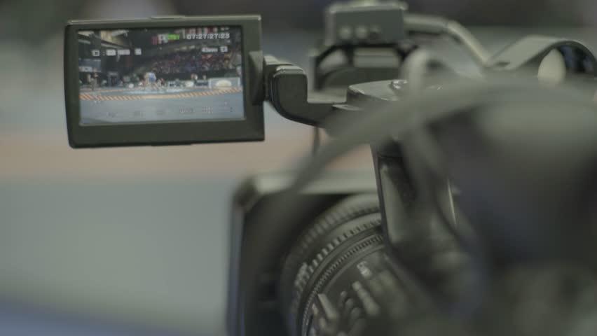 KYIV, UKRAINE – APRIL 24, 2017. Close-up camera during shooting. Media, news, press, journalist, live, broadcast   Shutterstock HD Video #1018085437