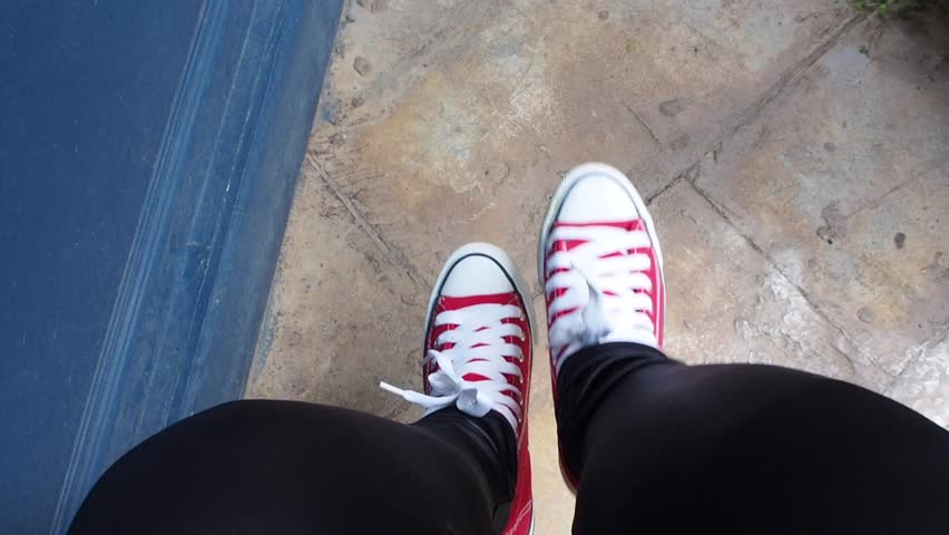 Selfie of red sneakers | Shutterstock HD Video #1018089997