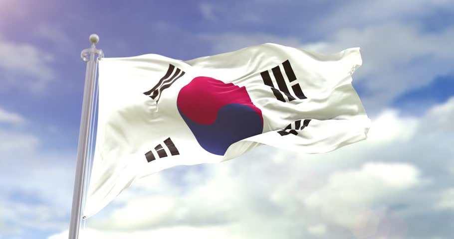 Photorealistic Flag Of South Korea On Sky Background. South Korea Flag Wave Slow Motion And Loop 4K. Sunny And Cloudy Flag Video. | Shutterstock HD Video #1018103317