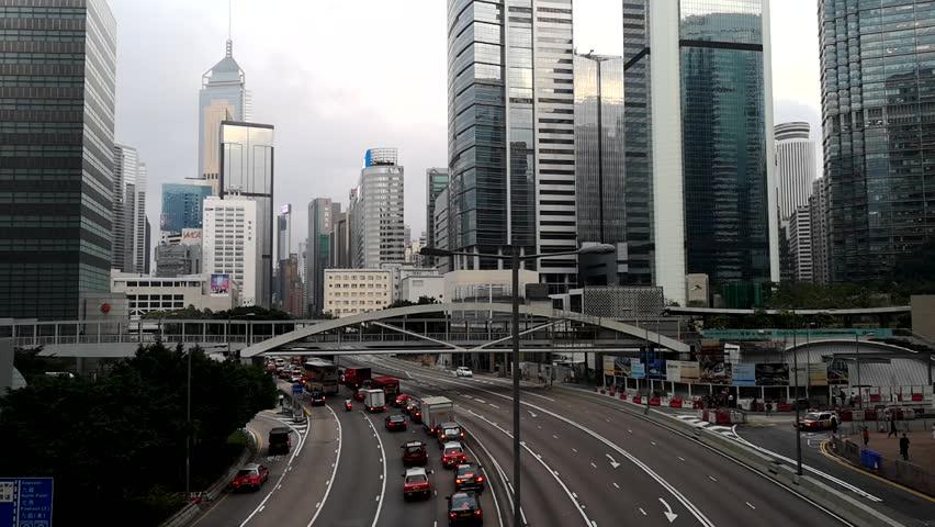 Footage Car light trails and urban landscape night traffic modern building in Hong Kong. | Shutterstock HD Video #1018119307