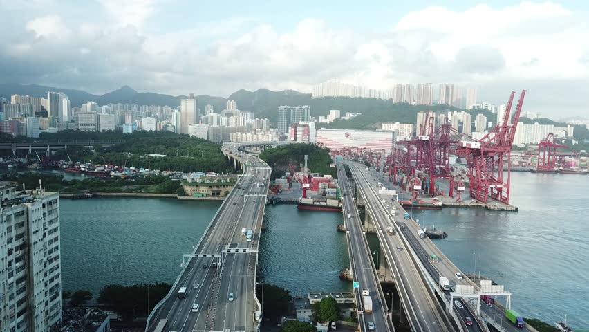 Aerial bird eye view Marine industry Container transport twilight  | Shutterstock HD Video #1018119337