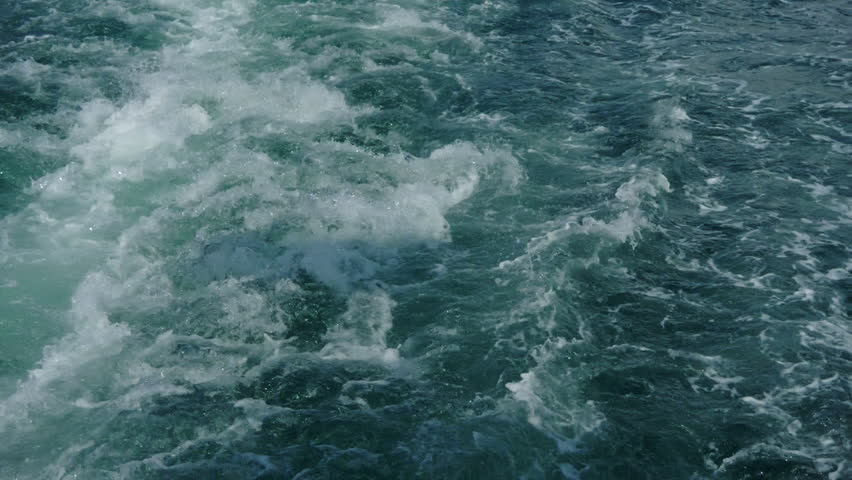 Sea ??waves in motion after the passage-boat, launch.  #1018143397