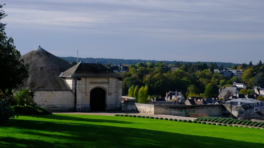Amboise-France/Loire - October 10 2019 - Royal Amboise castle, the garden and the Saint Hubertus chapel - Motion view