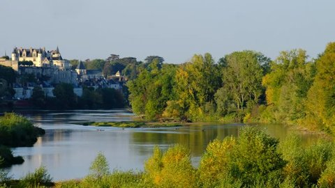 Amboise-France/Loire - October 10 2019 - The Loire river and the Amboise castle in background - Motion view