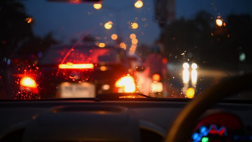 Driving during heavy rains at night. | Shutterstock HD Video #1018188967