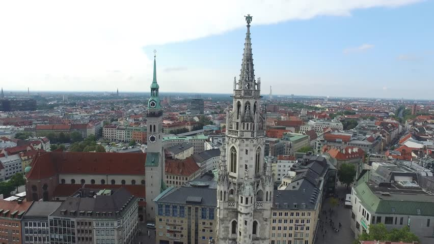 4K Drone aerial Downtown Munich | Shutterstock HD Video #1018286407