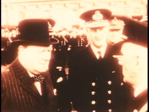 LONDON, ENGLAND, 1940, Battle of Britain, Churchill reviews troops, archival