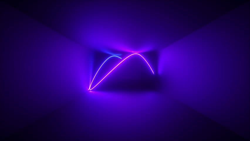 3d render, abstract background, neon rays inside dark box, tunnel, corridor, glowing lines, fluorescent ultraviolet light, blue red pink purple spectrum | Shutterstock HD Video #1018379227
