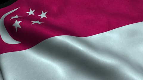 Photorealistic 4k Close up of singapore flag slow waving with visible wrinkles and realistic fabric. 15 seconds 4K, Ultra HD resolution singapore flag animation.