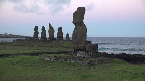 Easter Island. Statues on the shore of the Pacific Ocean.