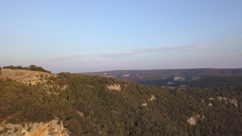 Gorge Ardeche aerial push forwards high and wide sunset