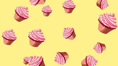 Abstract colorful animation - Cupcakes background. Cupcakes rotating and falling down - seamless loop.
