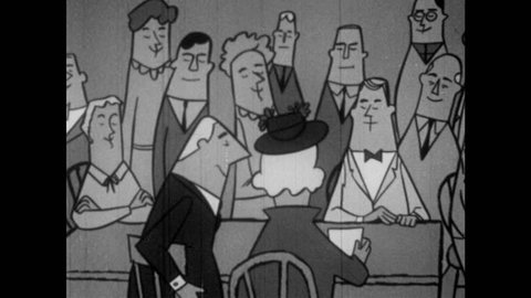 1950s: Man stands and questions motion at meeting. Another man stands and moves to Chairman to postpone.