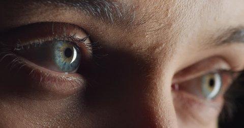 close up macro eyes opening natural human beauty