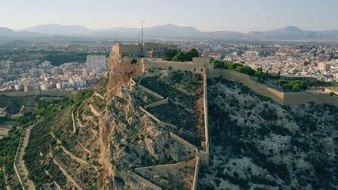 Aerial shot of the Santa Barbara castle in Alicante, Spain
