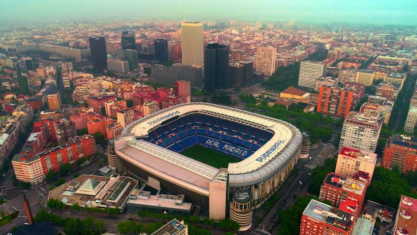 Madrid, Spain - May 28, 2018: Aerial view of Santiago Bernab?u Stadium as the home of Real Madrid CF. Madrid is the capital and the largest city in Spain.   Shutterstock HD Video #1018867867