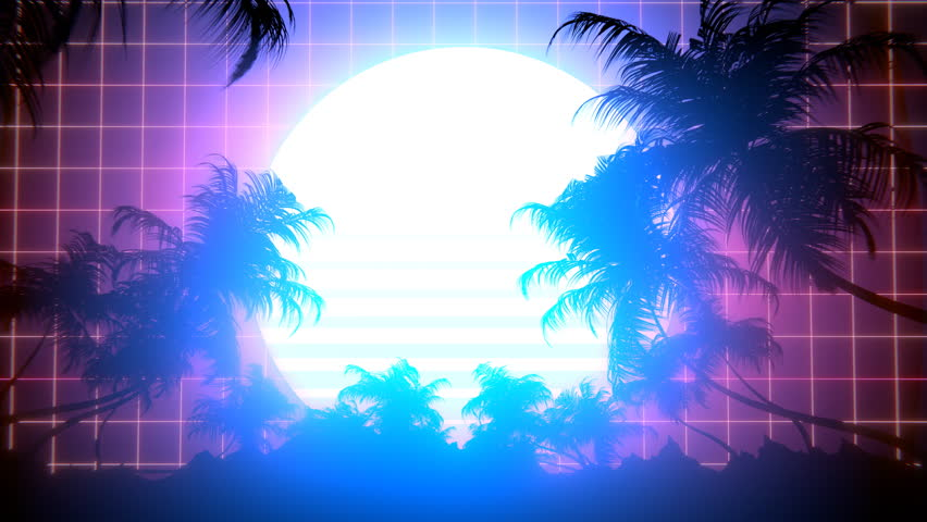 Retro-futuristic 80s synthwave sun and palm trees grid background. Perfectly seamless looped opener animation.