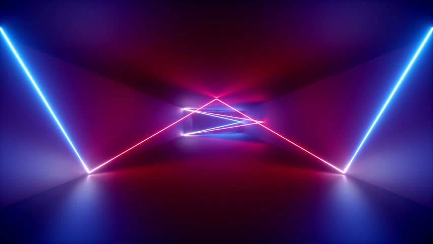 Abstract background, neon rays inside tunnel, seamless corridor, glowing lines, fluorescent ultraviolet light, blue red pink purple spectrum, looped animation, 3d render | Shutterstock HD Video #1018888837