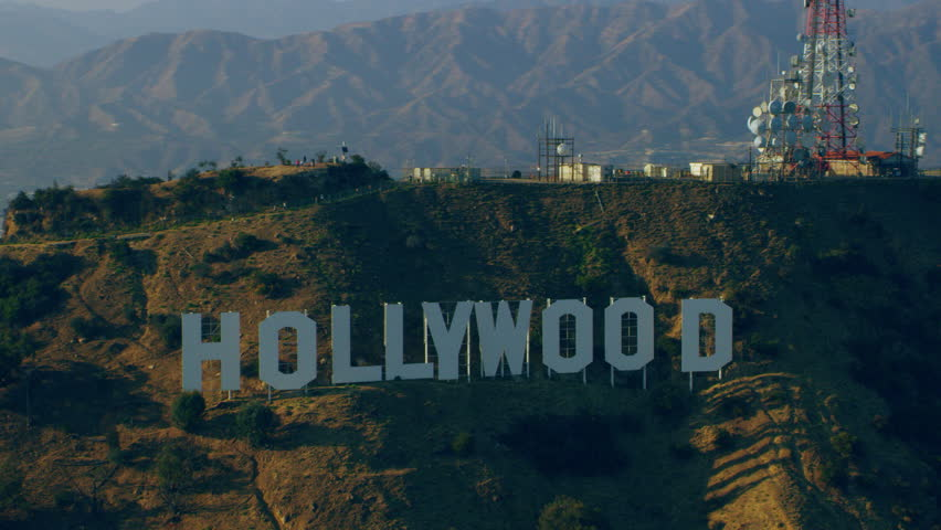 Los Angeles, California, USA - circa 2018: Aerial view Hollywood sign on a sunny day in Los Angeles, California. Shot on 4K RED camera.