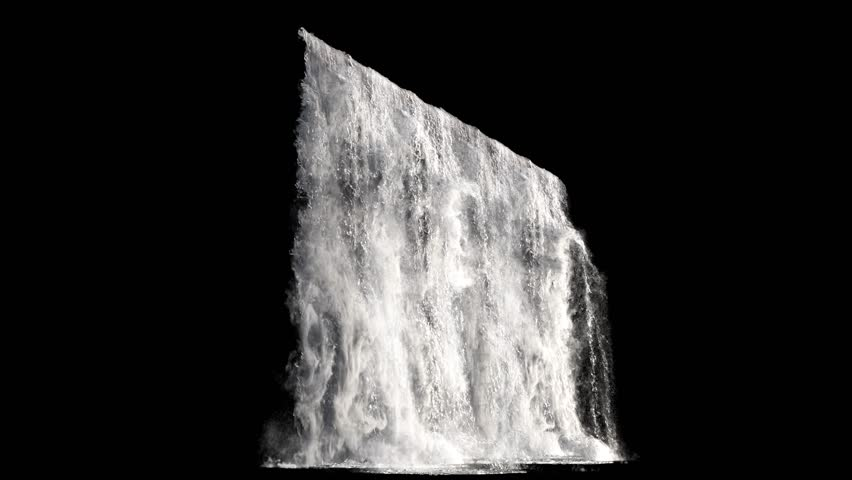 Waterfall texture seamless loop, 4k, isolated on black with alpha and separate foam layer | Shutterstock HD Video #1019024917