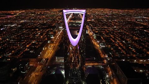 Riyadh ,saudi arabia /15-10-2018 kingdom tower night time
