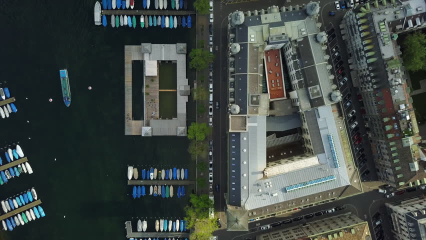 Day time zurich city center river dock aerial down view 4k switzerland | Shutterstock HD Video #1019187247