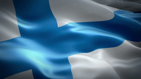 Finnish flag waving in wind video footage Full HD. Realistic Finnish Flag background. Finland Flag Looping Closeup 1080p Full HD 1920X1080 footage. Finland EU European country flags Full HD