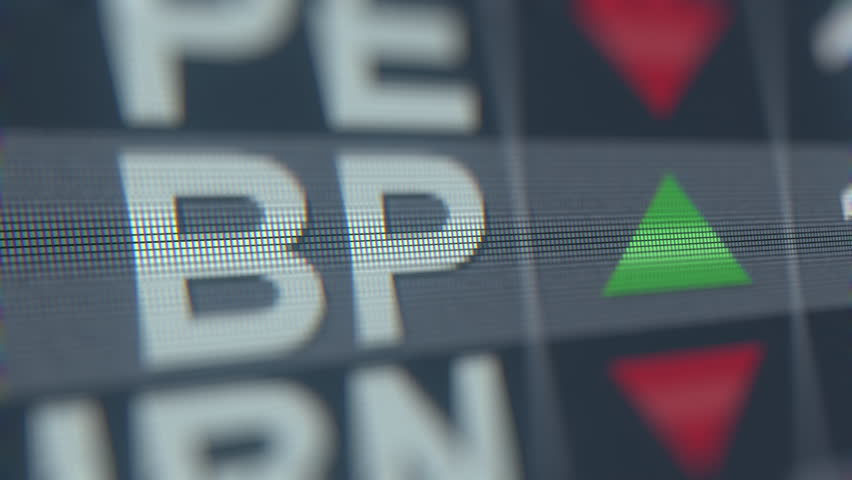 Stock exchange ticker of BP ADR BP. Editorial loopable animation