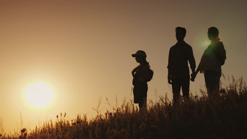 Happy family with one child. Stand side by side on the hill, admiring the sunset | Shutterstock HD Video #1019237977
