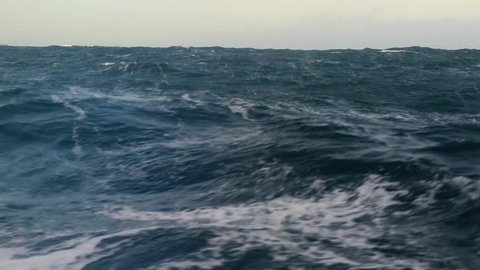 Storm in the Drake passage (storm in the ocean) (Slow motion)