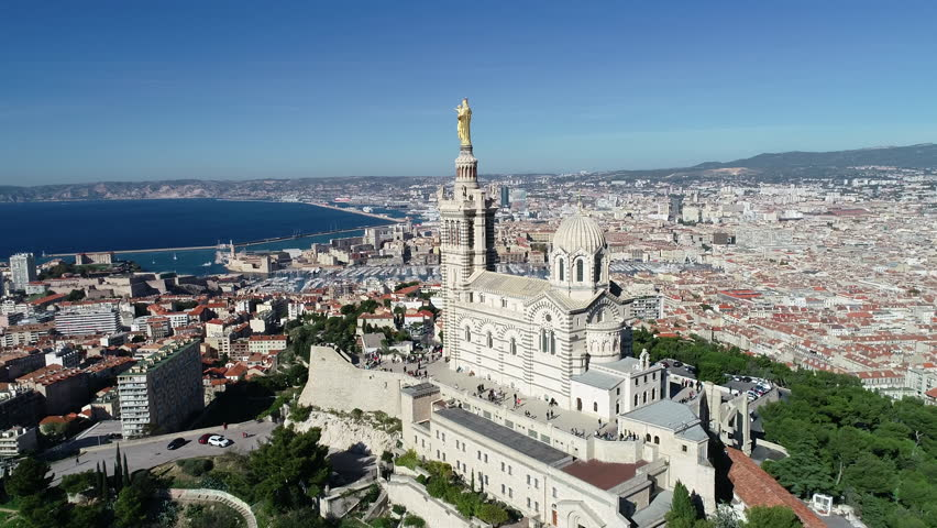 Marseille, Aerial view of Basilica Notre Dame de la Garde | Shutterstock HD Video #1019325397