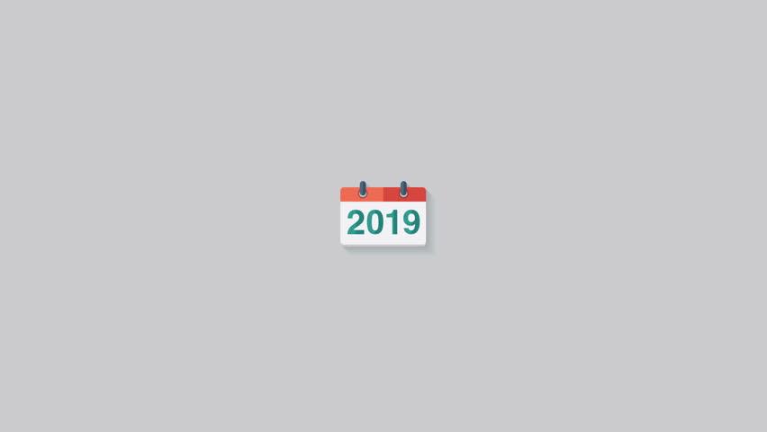 Flat animation calendar icon 2019. New year 2019