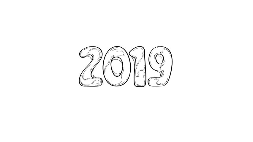 Happy New Year 2019 Drawing Stock Footage Video 100 Royalty Free