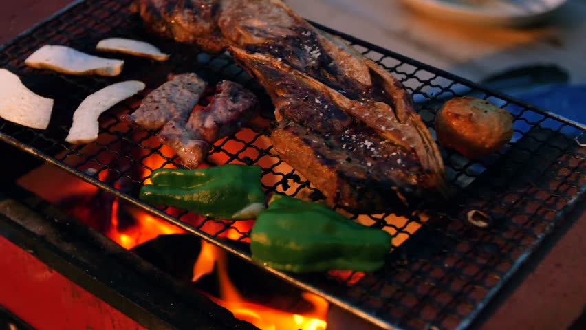 Vegetables and Meat Cooking Over a BBQ Fire | Shutterstock HD Video #1019469187