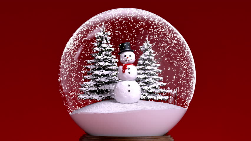 A Snowman and two Christmas trees in a snow globe.