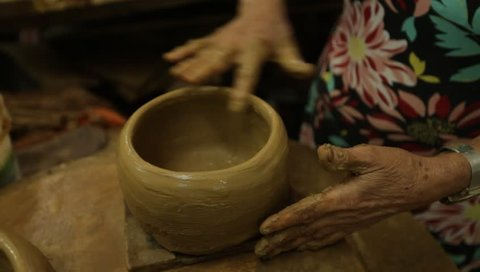 Vitória, Espírito Santo / Brazil - 11/09/2018: Clay pot being handcrafted in the Paneleiras de Goiabeiras Association