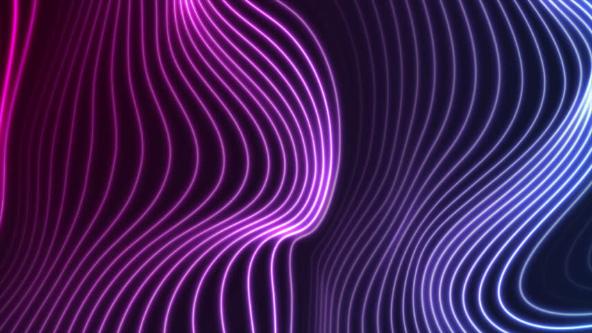 Blue and ultraviolet neon laser glowing curved 3d wavy lines abstract motion background. Video animation Ultra HD 4K 3840x2160
