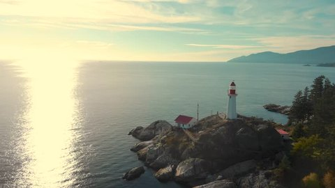 A aerial shot of the lighthouse at Point Atkinson, West Vancouver, BC.