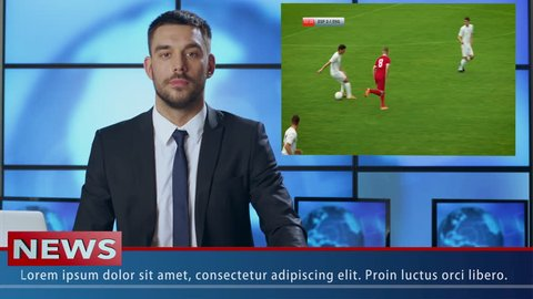 Concept of Sports News Broadcast: Anchorman Talks About Soccer Match. Video Insert Shows Best Game Moments of Two Soccer Teams Playing.