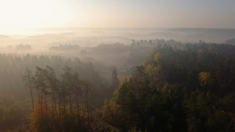 4k AERIAL: Flight over foggy autumn forest and small house in Poland. 3840x2160, 30fps.