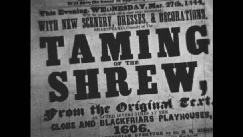 "1950s: Print advertisement for ""THE TAMING OF THE SHREW."" 